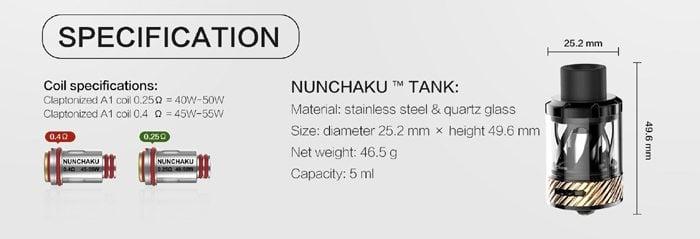 nunchaku tank specs