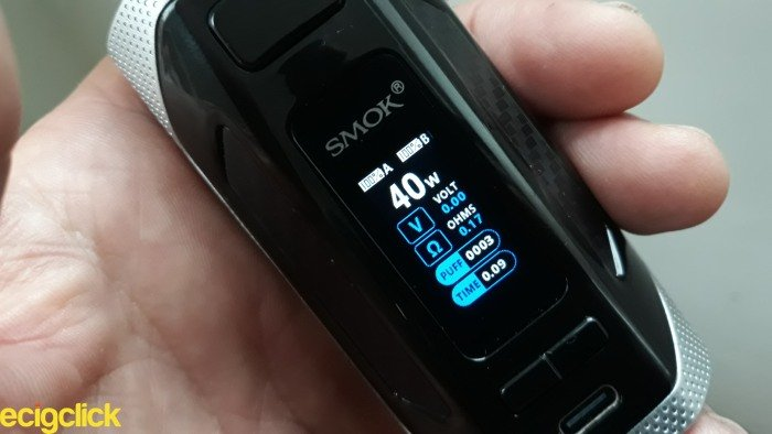 Smok Rigel Kit screen display