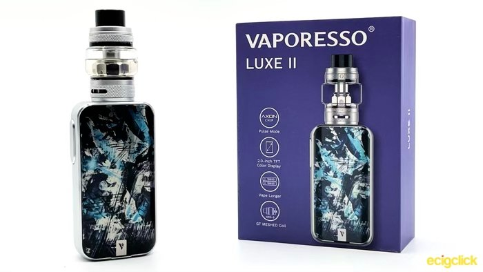 Vaporesso Luxe 2 in front of box