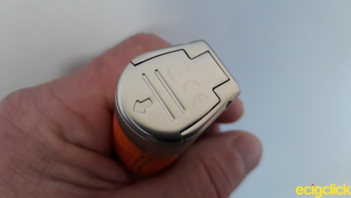 Wotofo Manik Mod section showing hinged battery door