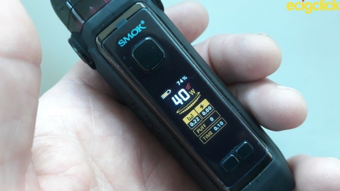 Smok IPX80 pod kit screen display